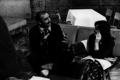 Striking the right dramatic attitude - but the lines won't come; Sean Connery rehearses for the part aided by Vivien Merchant, who plays his wife, Maureen.